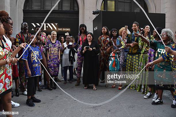 Publicist Kelly Cutrone seen around Spring 2016 New York Fashion Week The Shows Day 7 on September 16 2015 in New York City