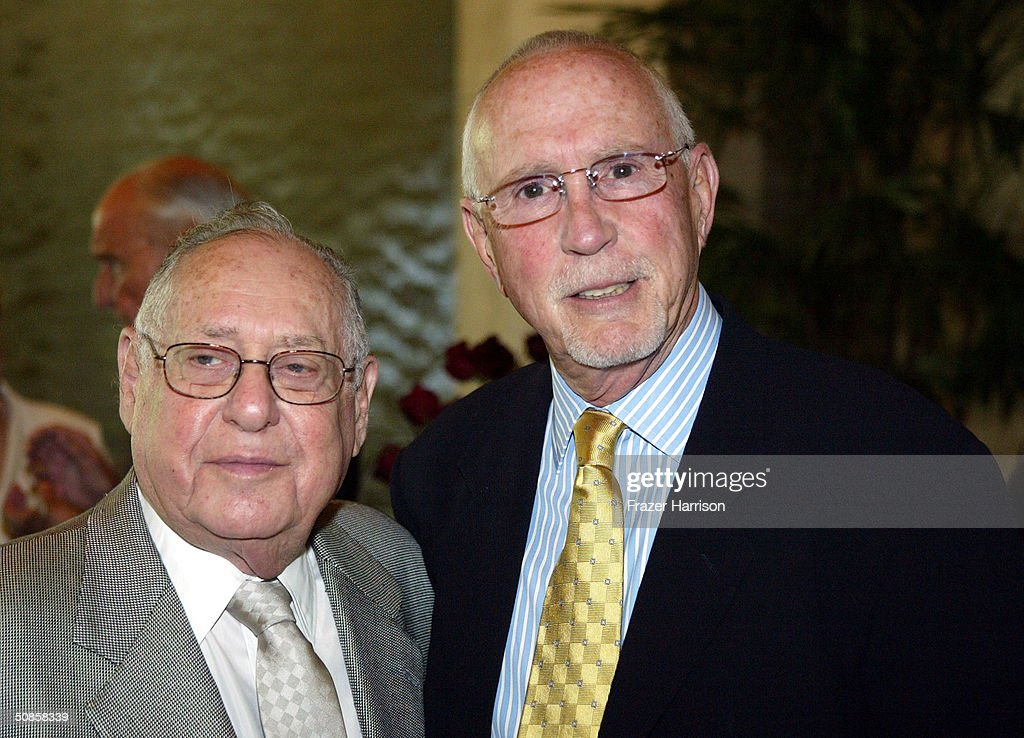 Publicist Lee Solters (L) and Alan Berliner pose together at the VIP luncheon to celebrate the 50th Anniversary of Solters & Digney Public Relations, and its founder Lee Solters, held on May 19, 2004 at the Beverly Hilton Hotel in Beverly Hills, California.