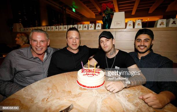 Publicist Phil Lobel Steven Zap singer Aaron Carter and Jayson Sanchez celebrate Carter's 30th birthday and the release of his new single 'Don't Say...