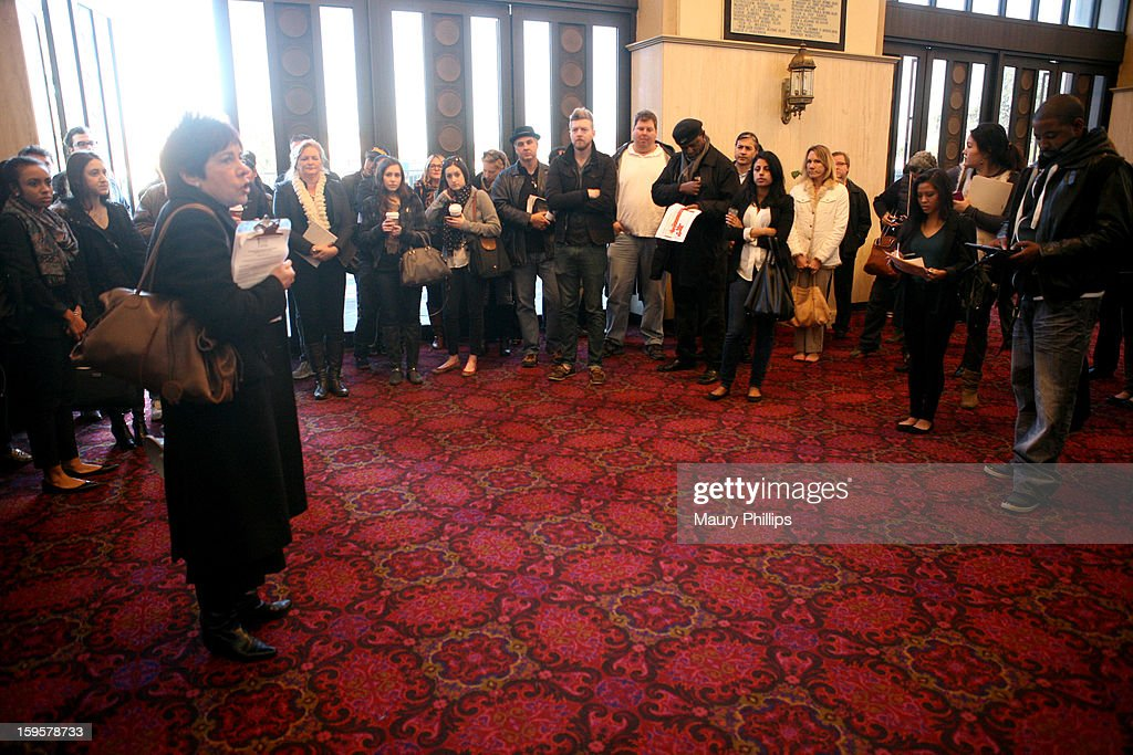 Publicist Rosalind Jarrett (C) speaks during the 19th Annual SAG Awards 2013 SAG Media and Publicist Walk-Through at The Shrine Auditorium on January 16, 2013 in Los Angeles, California. (Photo by Maury Phillips/WireImage) 23116_007_MP_0089.jpg