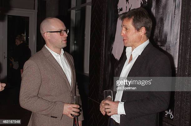 """Publicist Shane Kidd and actor Hugh Grant attend The Cinema Society and Brooks Brothers host a screening of """"The Rewrite"""" after party at The Jimmy at..."""