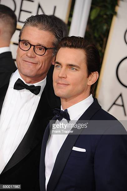 Publicist Simon Halls and actor Matt Bomer arrive at the 72nd Annual Golden Globe Awards held at the beverly Hilton Hotel