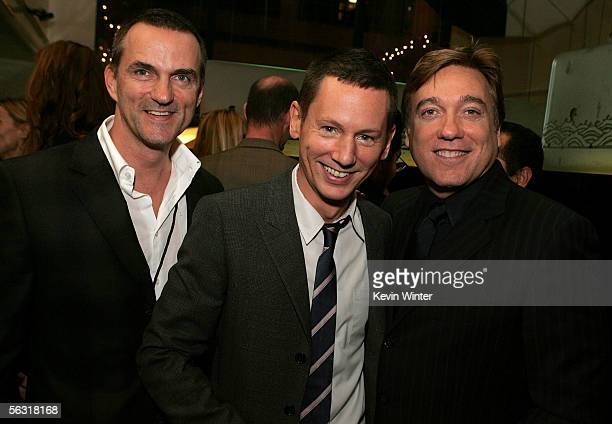 Publicist Stephen Huvane GQ editorincheif Jim Nelson and agent Kevin Huvane pose inside at the GQ 2005 Men Of The Year celebration at Mr Chow Beverly...