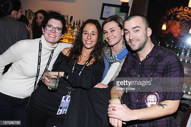Publicists Michelle Moretta Lightner Jessica Uzzan Mary Ann Hult and Martin Marquet attend the Wrong Premiere and party at Fuego Pizzeria during the...