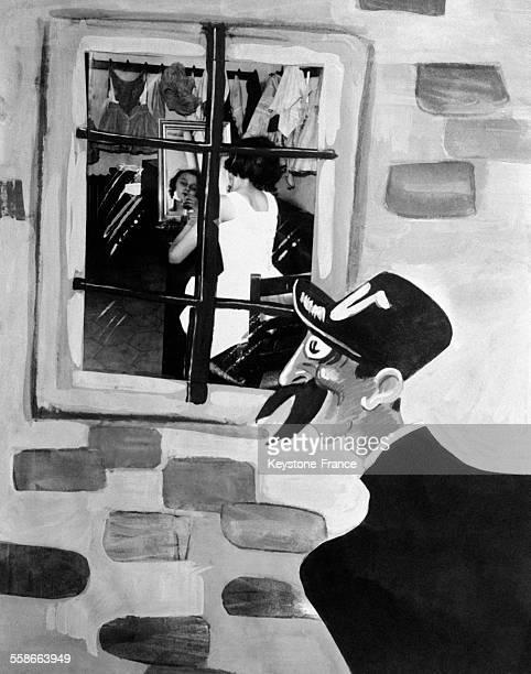 Publicité pour le caviste 'Nicolas' avec Nectar le livreur emblématique de ce marchand de vins en France circa 1930