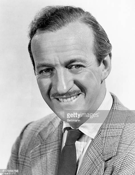 Publicity handout of British actor David Niven He is shown from the shoulders up wearing a suit and tie