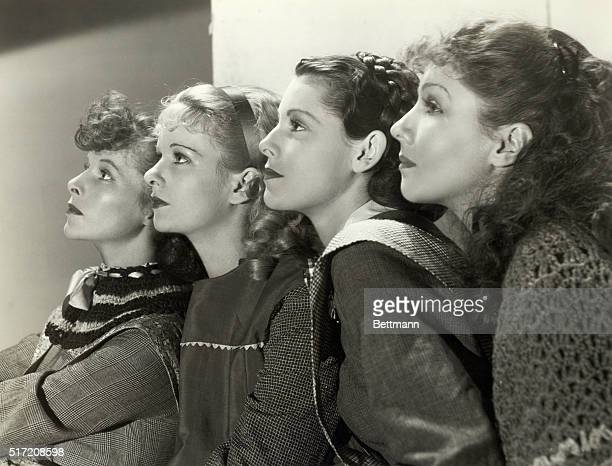 Publicity handout showing Katherin Hepburn Joan Bennett Francis Dee and Jean Parker for the 1933 RKO Pictures production of Little Women Undated...