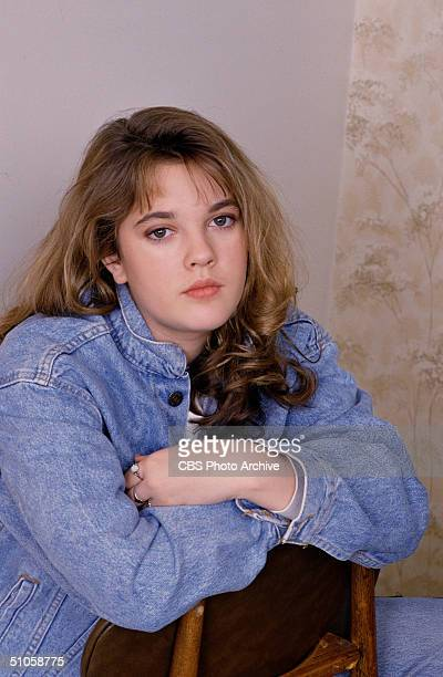 Publicity photo for the CBS Schoolbreak Special '15 and Getting Straight ,' shows American actress Drew Barrymore sitting backwards on a chair, 1989....