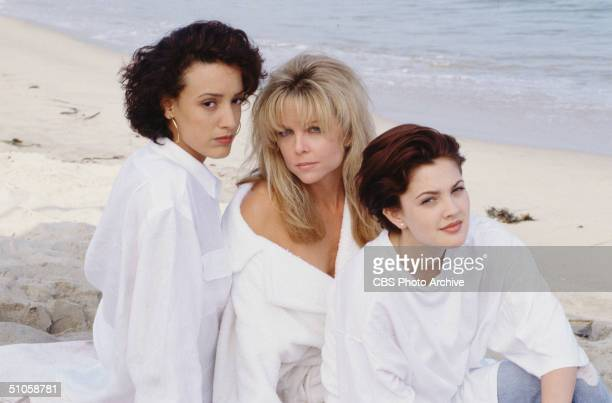 Publicity photo for the CBS television drama '2000 Malibu Road' shows American actresses Jennifer Beals Lisa Hartman and Drew Barrymore as they sit...