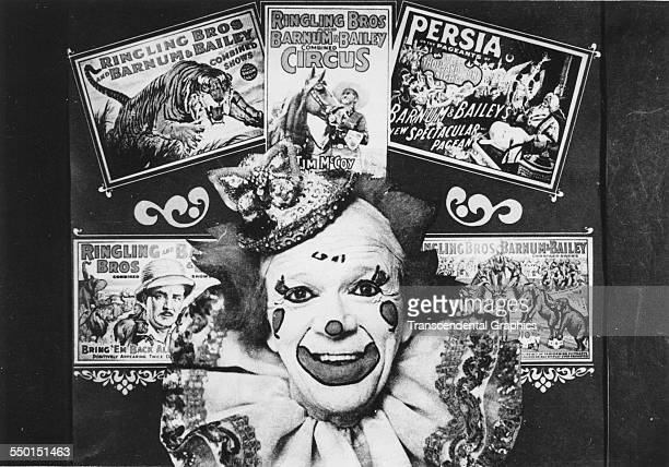 A publicity photograph for the Ringling Brothers Barnum and Bailey circus shows a collage of posters surrounding a clown Winter Haven Florida circa...
