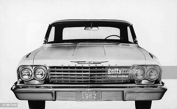 Publicity photograph shows a head on view of the 1962 Chevrolet Impala automobile circa 1961