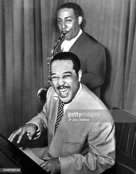 Publicity picture of American jazz pianist composer and bandleader Duke Ellington and American jazz saxophonist Johnny Hodges ca 1958