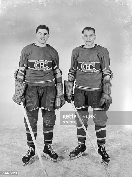 Publicity portrait of Canadian ice hockey players Ken Reardon and Tony Graboski of the Montreal Canadiens early 1940s