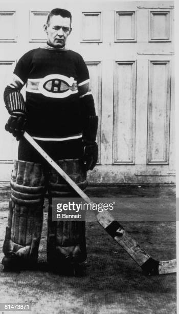 Publicity portrait of ice hockey player Georges Vezina, goalkeeper for the Montreal Canadiens, late 1910s or 1920s.