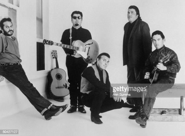 Publicity portrait of rock group Los Lobos