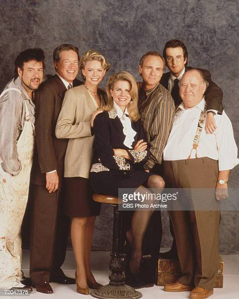 Publicity portrait of the cast of the television series 'Murphy Brown' 1990 Pictured are from left American actors Robert Pastorelli Charles...