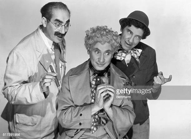 Publicity portrait of the Marx Brothers Groucho Harpo and Chico as they appeared in the 1946 movie A Night in Casablanca directed by Archie Mayo...