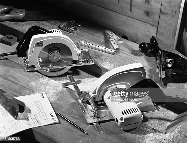 Publicity shot for Stanley circular saws 1965 A publicity Shot for Stanley Tools showing the Husky circular saw together with a range of hand tools...