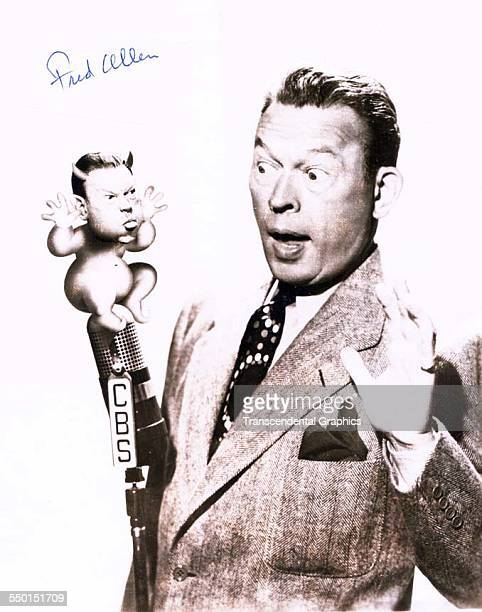 Publicity sot of radio comedian Fred Allen with his comical friend New York New York circa 1940