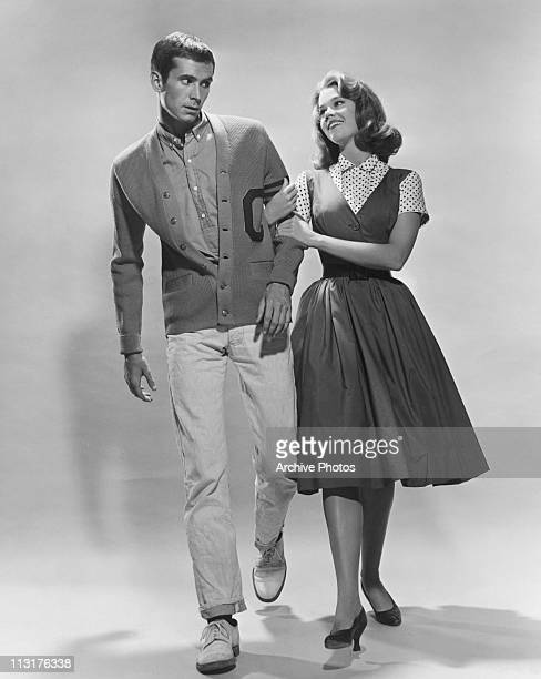 Publicity still of Anthony Perkins and Jane Fonda in 'Tall Story' in 1959