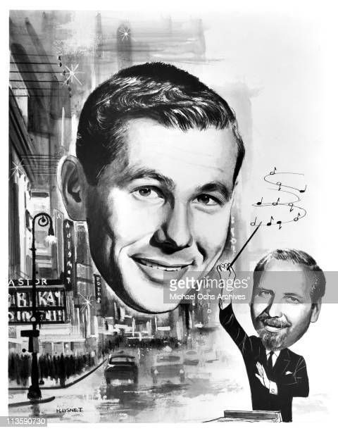 TV publicity still released to announce the premier of 'The Tonight Show Starring Johnny Carson' in the Fall of 1962 The pencil drawing by the artist...