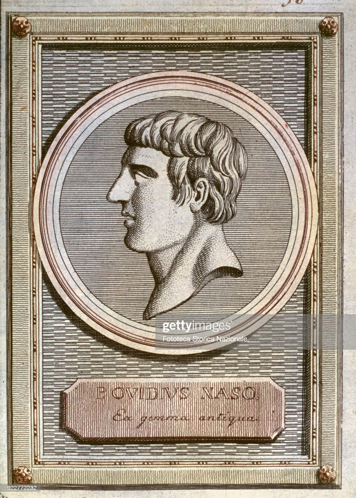 Publio Ovid Nasone (43 BC-17 AD) Latin elegiac poet of Sulmona. He was exiled by Augustus at Tomis in Moesia, where he died. His works include the famous 'Metamorphosis'. Portrait from: 'Gallery of the ancient Greeks and Romans with a small description of their lives' by Georg Wilhelm Zapf, dedicated the Altitude serenissima Charles Frederick Margrave of Baden; translation from German of Tommaso de Bassus (1742-1815) by Giuseppe Ambrosioni, Vol. II. Switzerland, Poschiavo 1784.