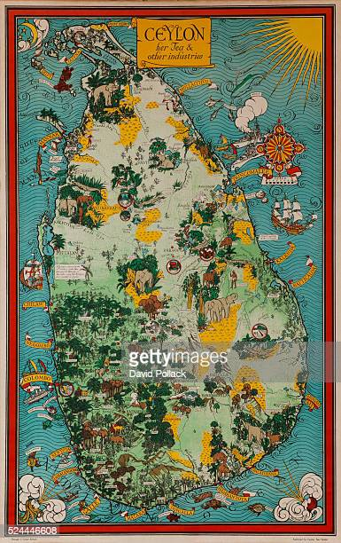 Published by the Ceylon Tea Centre illustrated by MacDonald Griff ca 1930s Art deco map of Ceylon with icons of the country's industries flora fauna...