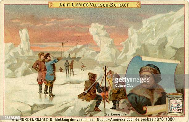 Published in 1891 Liebig Company series of Dutch collectible cards showing famous explorers Adolf Erik Nordenskiöld Finnish baron geologist...