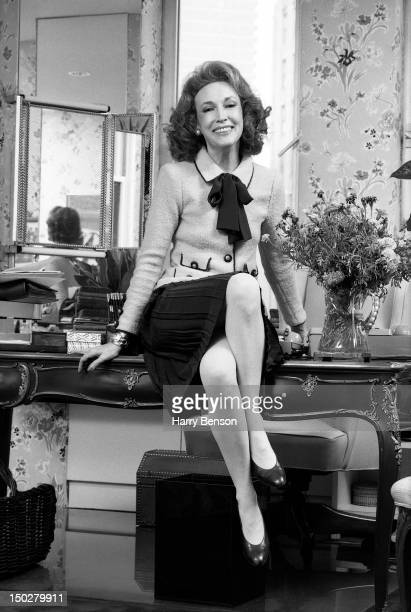 Publisher and author Helen Gurley Brown photographed in her office at Cosmopolitan Magazine in 1982 in New York City.