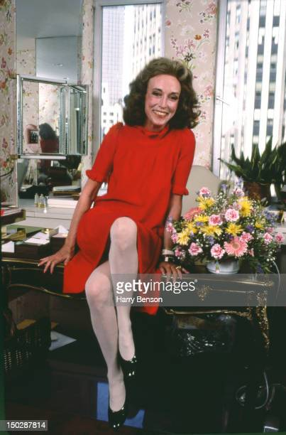 Publisher and author Helen Gurley Brown photographed in her Cosmopolitan office in 1982 in New York City.