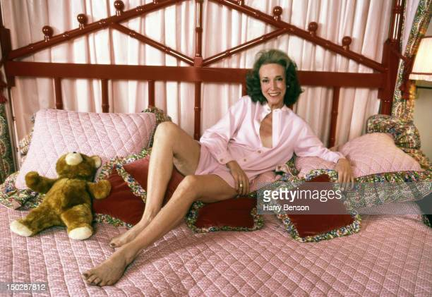 Publisher and author Helen Gurley Brown photographed on her bed in 1982 in New York City.