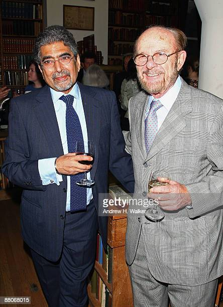 Publisher and editorinchief of Alfred A Knopf Ajai Singh Sonny Mehta and The Strand Bookstore owner Fred Bass attend a cocktail reception with...