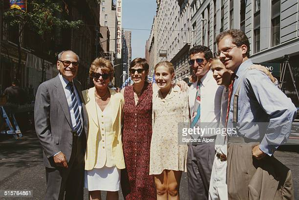 Publisher Arthur Ochs Sulzberger with his son Arthur Ochs Sulzberger Jr publisher of The New York Times with their family during the renaming of a...