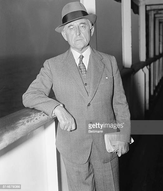 Publisher Conde Nast leans against a railing on September 6, 1935. He has just arrived in New York aboard the S.S. Aquitania.