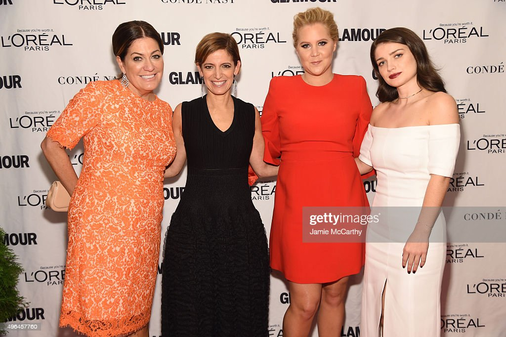 GLAMOUR publisher Connie Anne Phillips, GLAMOUR editor-in-chief Cindi Leive, Comedian Amy Schumer, and actress Eve Hewson attend 2015 Glamour Women Of The Year Awards at Carnegie Hall on November 9, 2015 in New York City.