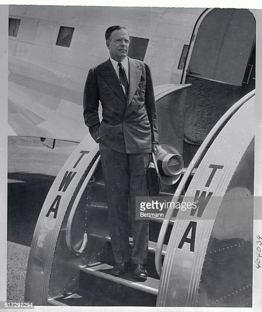 Publisher George Palmer Putnam, pictured here as he arrived on the TWA plane at Newark airport in New Jersey and from the West Coast, announced that...