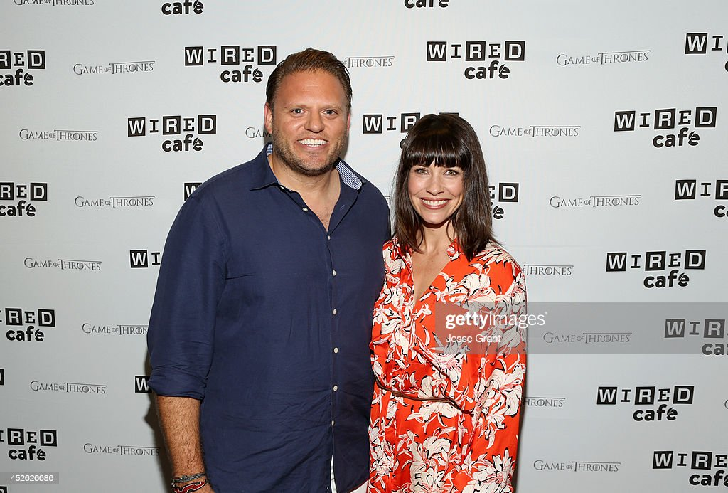 VP & Publisher Howard Mittman (L) and actress Evangeline Lilly attend day 1 of the WIRED Cafe @ Comic Con at Omni Hotel on July 24, 2014 in San Diego, California.