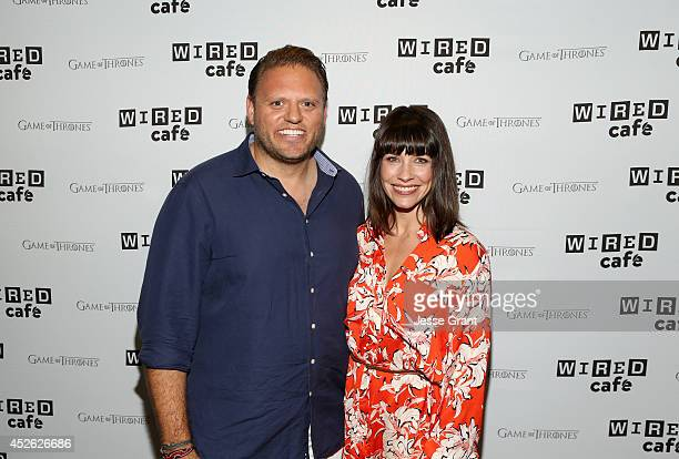 VP Publisher Howard Mittman and actress Evangeline Lilly attend day 1 of the WIRED Cafe @ Comic Con at Omni Hotel on July 24 2014 in San Diego...