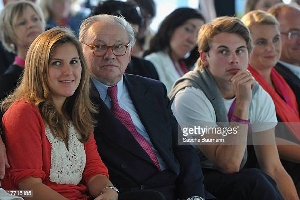 Publisher Hubert Burda and his children Jacob and Elisabeth attend the Digital Life Design women conference at Bavarian National Museum on June 30...