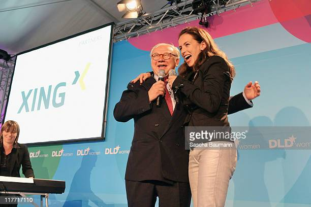 Publisher Hubert Burda and singer Judy Weiss sing during the closing ceremony of the Digital Life Design women conference at Bavarian National Museum...