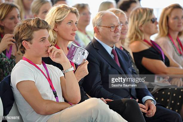 Publisher Hubert Burda his wife and DLD chairwoman Maria Furtwaengler and their son Jacob Burda attends the Digital Life Design women conference at...
