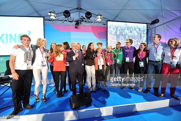 Publisher Hubert Burda his wife Maria Furtwaengler and their children Jacob and Elisabeth singer Judy Weiss and DLD founder Steffi Czerny and DLD...
