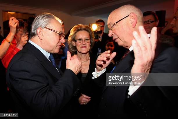 Publisher Hubert Burda talks to Klaus Schwab founder of the world economic forum during the Burda DLD Nightcap 2010 at the Bellvedere Hotel on...