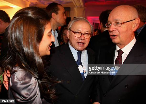 Publisher Hubert Burda talks to Megha Mittal CEO of Escada and Klaus Schwab founder of the world economic forum during the Burda DLD Nightcap 2010 at...