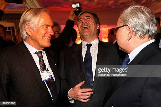 Publisher Hubert Burda talks to Roland Berger and Josef Ackermann CEO of Deutsche Bank AG during the Burda DLD Nightcap 2010 at the Bellvedere Hotel...