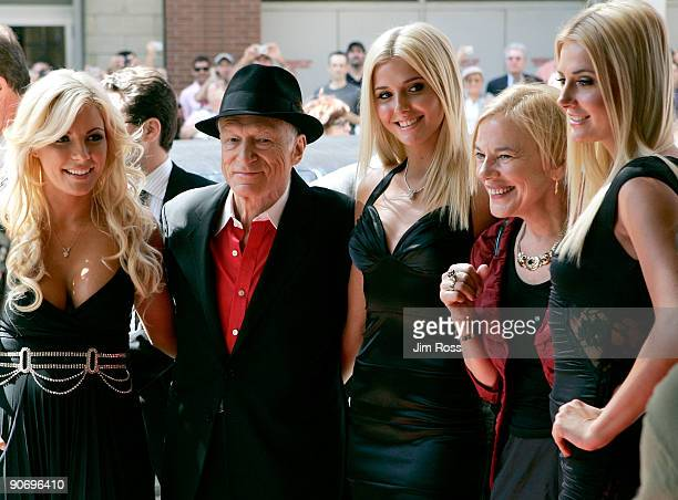 Publisher Hugh Hefner arrives with Playboy Playmates Crystal Harris Kristina Shannon Director Brigitte Berman and playmate Karissa Shannon at the...