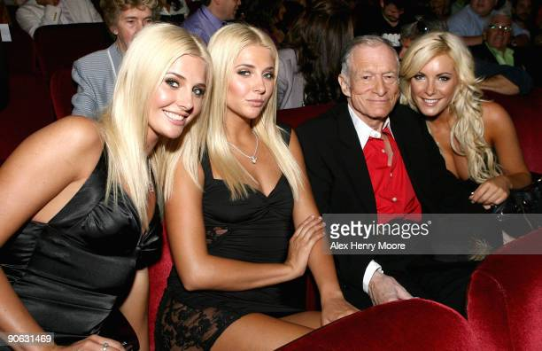 Publisher Hugh Hefner with Karissa Shannon Kristina Shannon and Crystal Harris attend the Hugh Hefner Playboy Activist And Rebel premiere held at...