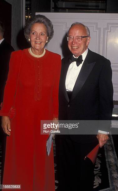 Publisher Katharine Graham and author Arthur Schlesinger attend News and Documentary Emmy Awards on September 8 1994 at the Plaza Hotel in New York...