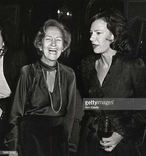 Publisher Katharine Graham and journalist Lally Weymouth attend the preview party for Lunch Hour on November 5 1980 in Piccadilly Hotel in New York...