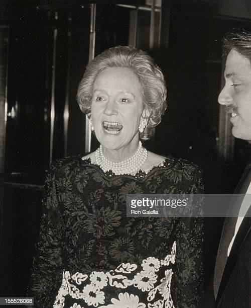 Publisher Katharine Graham and son Donald Graham attend The Gridiron Club Media Awards Dinner on March 26 1988 in Washington DC